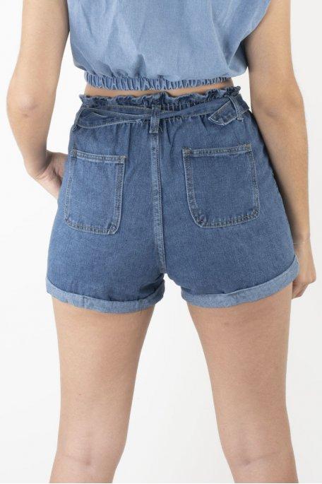 Short jean élastique avec ceinture
