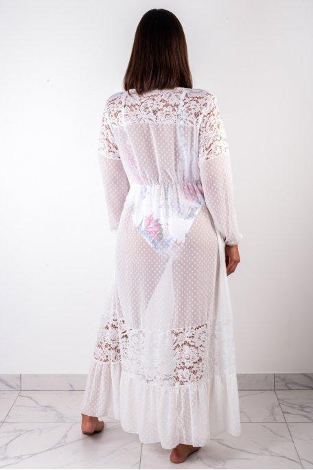 Kimono dentelle long blanc