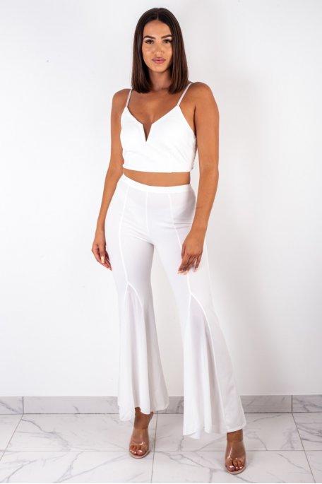 Ensemble brassière pantalon blanc