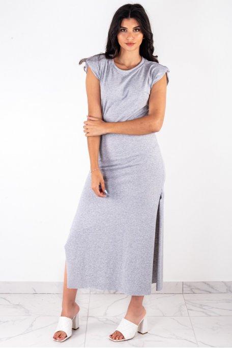Robe longue fendue épaulettes grise