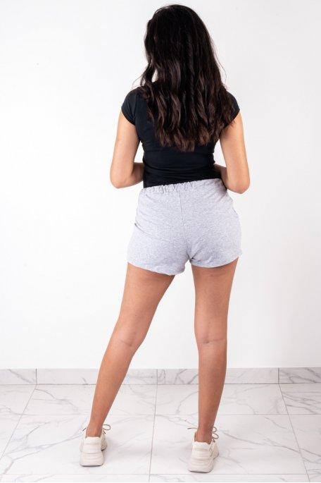Short coton gris