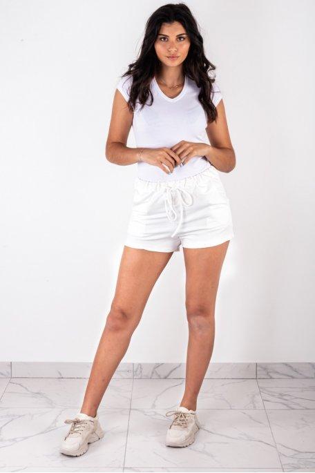 Short coton blanc