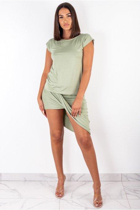 Ensemble jupe drapée vert