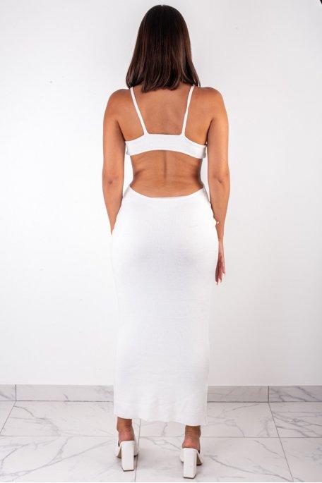Robe en maille blanche ouverte