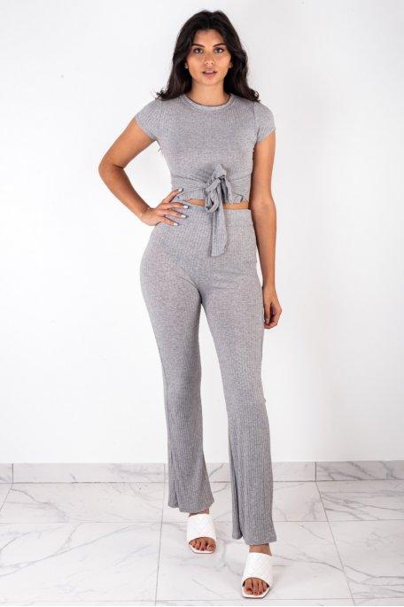 Ensemble côtelé gris crop top à nouer pantalon flare