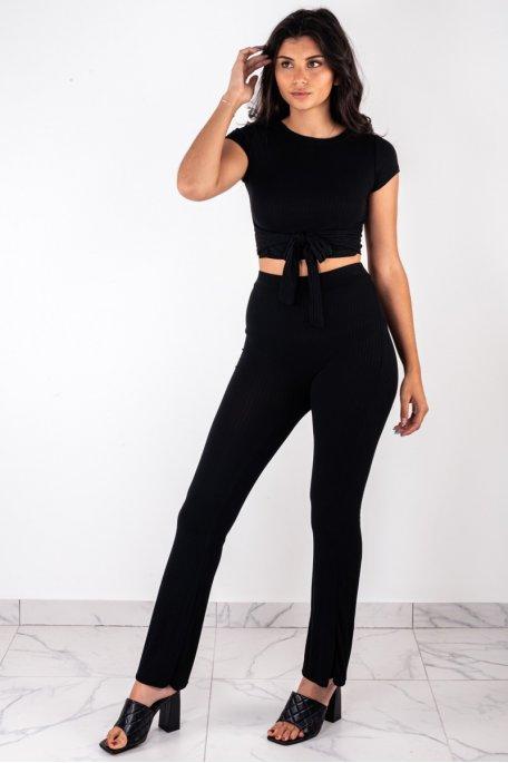 Ensemble côtelé noir crop top à nouer pantalon flare