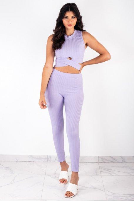 Ensemble lilas côtelé crop top croisé pantalon slim