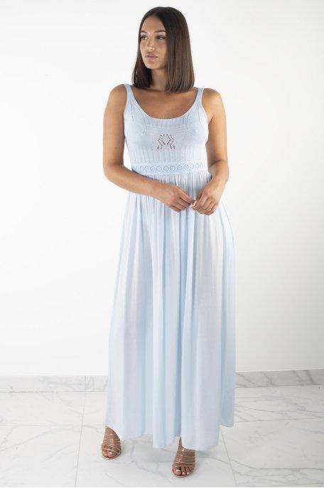 Robe bleu longue dentelle