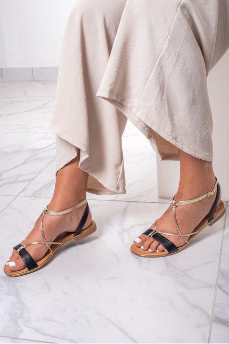 Sandales noires à lanière dorée