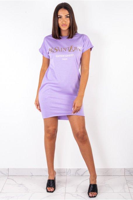 "Robe tee-shirt violette ""Yes Saint Love"""