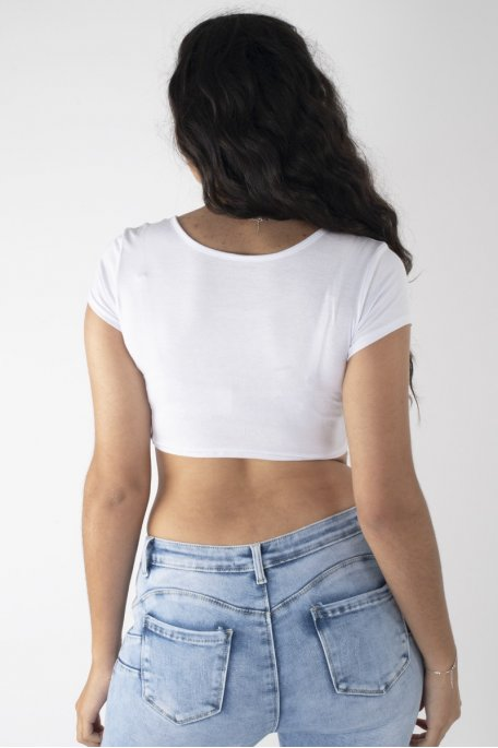 Crop top tee-shirt blanc