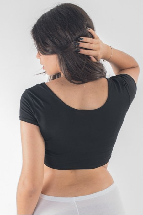 Crop top tee-shirt noir