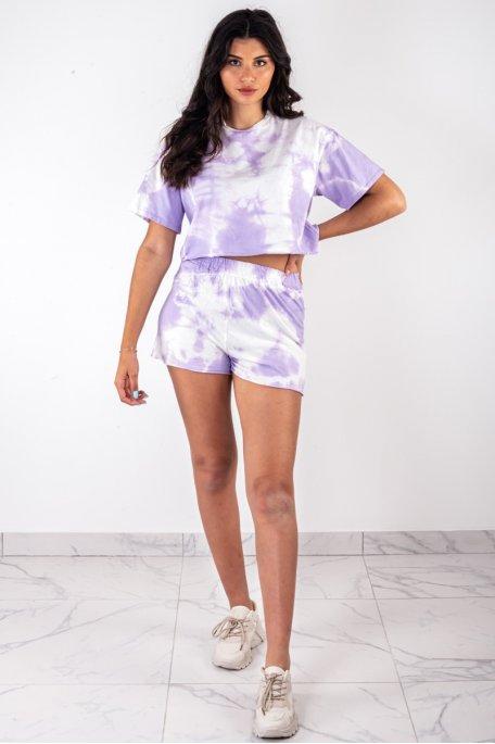 Ensemble short t-shirt dégradé violet