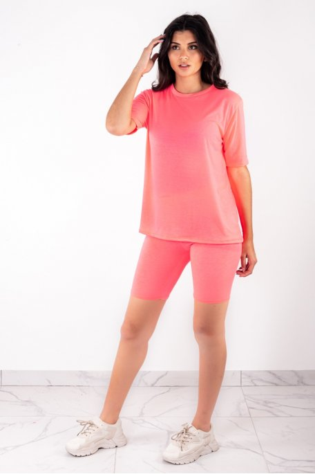 Ensemble rose fluo tee-shirt shorty