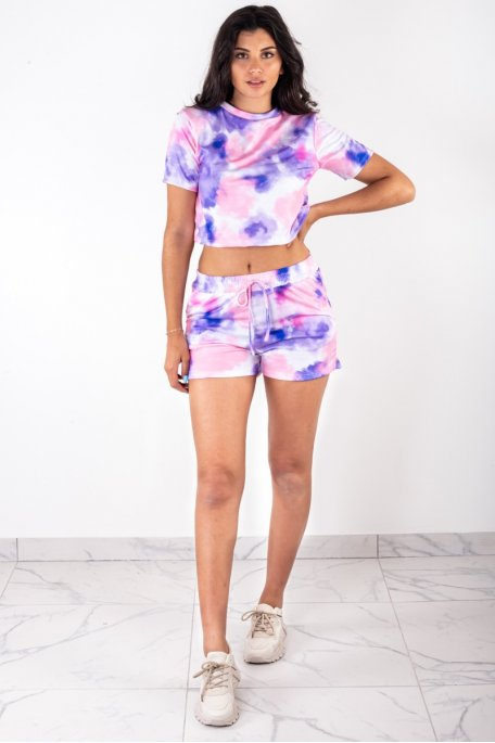 Ensemble tee-shirt short tie and dye violet
