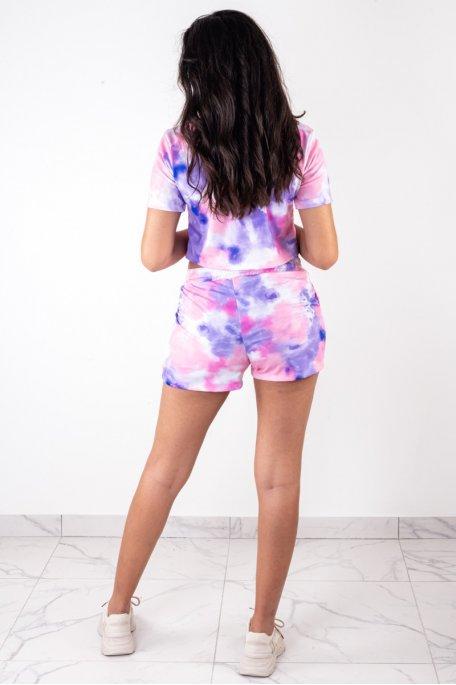 Ensemble tee-shirt short tie and dye violet