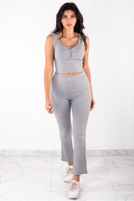 Ensemble côtelé gris crop top boutonné pantalon