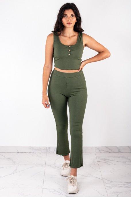 Ensemble côtelé kaki crop top boutonné pantalon