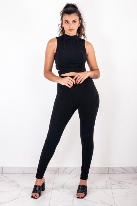 Ensemble noir côtelé crop top croisé pantalon slim