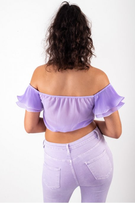 Crop top lilas manches froufrous