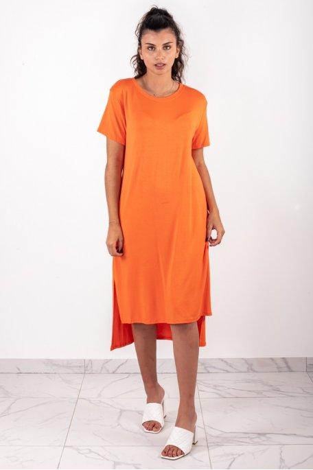 Robe longue oversize orange