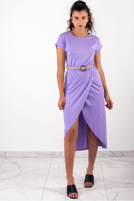 Robe longue croisée ceinture violette