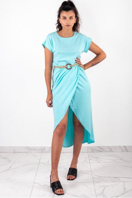 Robe longue croisée ceinture bleu