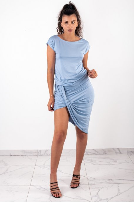 Ensemble jupe drapée bleu clair