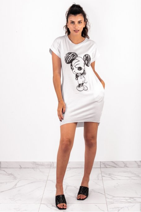 Robe tee shirt mickey blanc