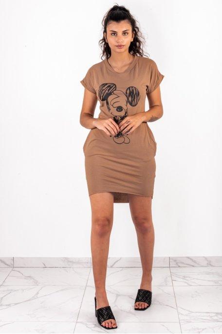 Robe tee shirt mickey camel