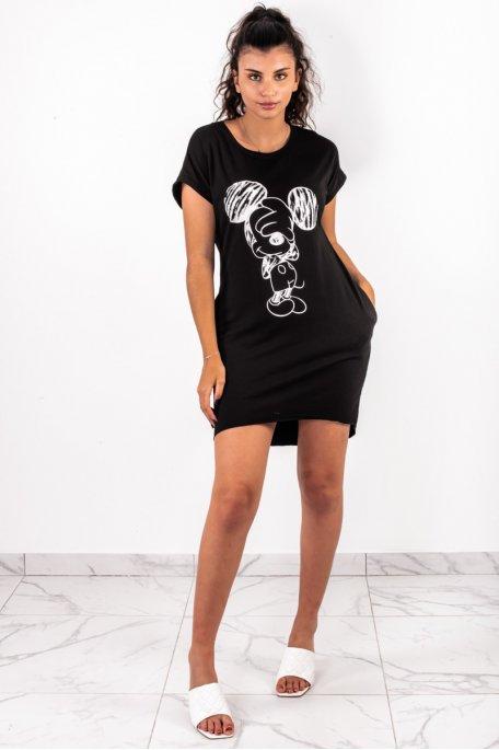 Robe tee shirt mickey noire