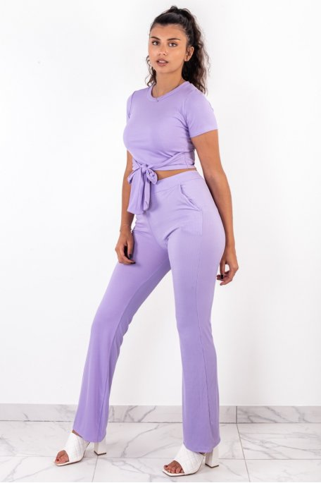 Ensemble lilas côtelé crop top noeud pantalon évasé