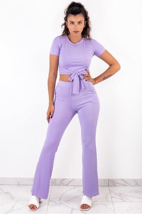Ensemble lilas côtelé crop top noeud pantalon évasé
