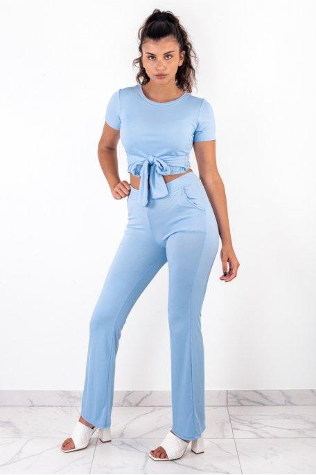 Ensemble bleu clair côtelé crop top noeud pantalon évasé