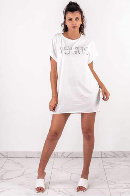Tee-shirt long imprimé VOGUE blanc