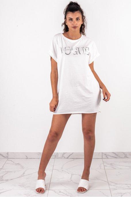 Tee-shirt long imprimé VOGUE blanc