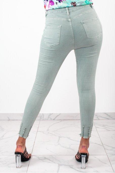 Jean vert taille haute griffé