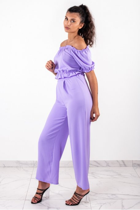 Ensemble violet crop top bouffant pantalon large