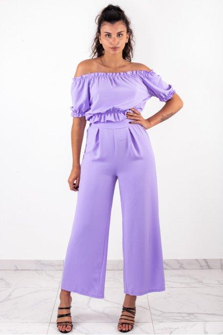 Ensemble violet crop top bouffant pantalon large