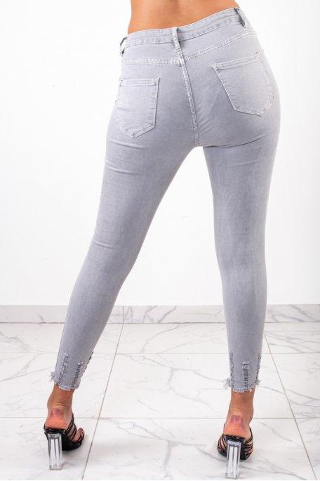 Jean gris clair taille haute griffé