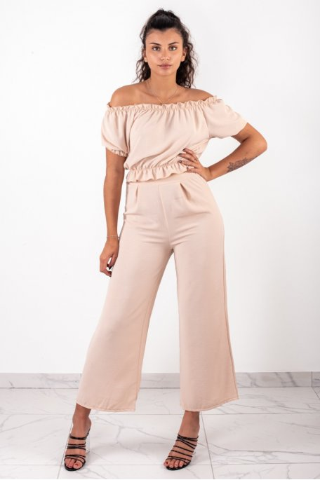 Ensemble beige crop top bouffant pantalon large
