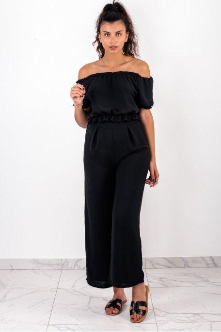 Ensemble noir crop top bouffant pantalon large