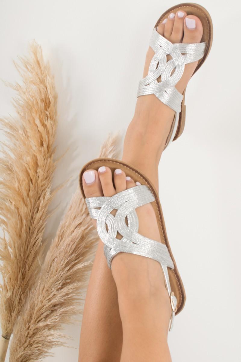 Sandales torsadées argentées