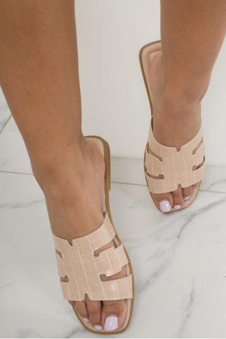 Sandales beige croco