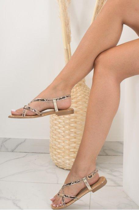 Sandales beige broderie dorée