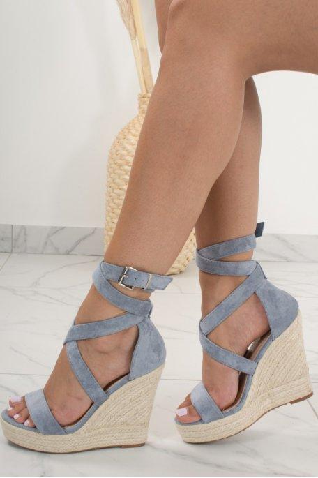 Sandales compensées bleu montantes effet daim