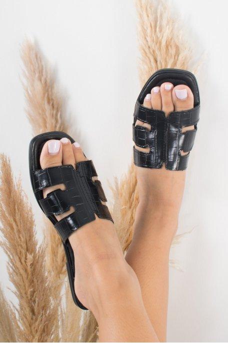 Sandales noire croco