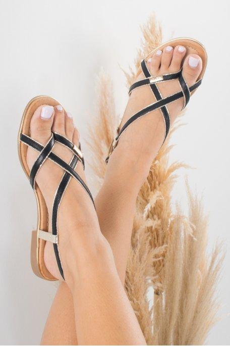 Sandales noire broderie dorée