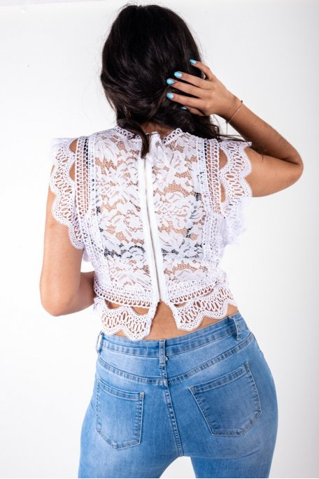 Crop top dentelle blanc brodé