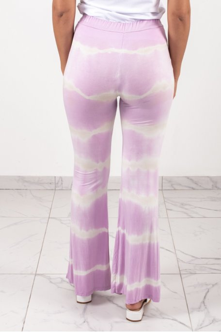 Pantalon fluide dégradé tie and dye rose
